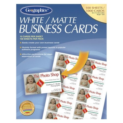 Geographics Business Card, Inkjet Coated, Matte, White, 1000 Cards