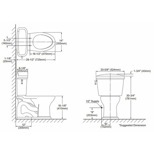 Toto Dartmouth Eco 1.28 GPF Elongated 2 Piece Toilet