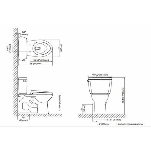 Toto Drake Eco 1.28 GPF Elongated  2 Piece Toilet