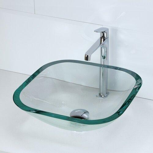 Glass Bathroom Sinks : ... Square 19mm Glass Vessel Bathroom Sink & Reviews Wayfair Supply