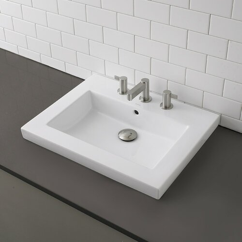 Classically Redefined Rectangular Semi-Recessed Bathroom Sink