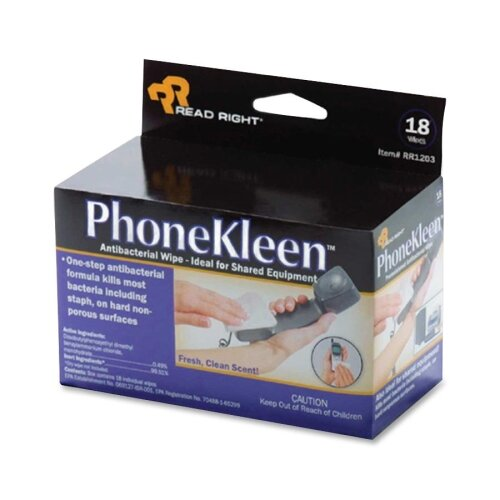 Read/Right Phone Kleen Wipes, Pre-Moistened, 18 per Box