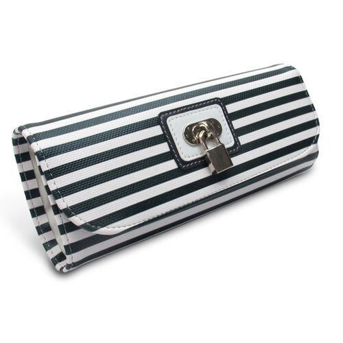 Morelle Company Lucy Striped Roll Jewelry Pouch