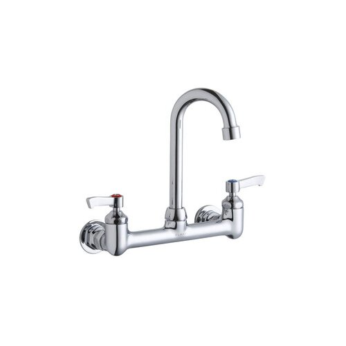 Wall Mount Commercial Faucet with Swing Spout and Double Lever Handle