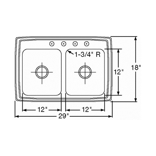 "Elkay 29"" x 18"" Double Bowl Kitchen Sink"
