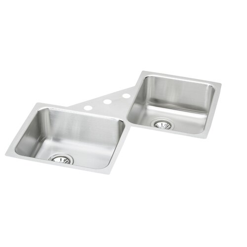 Lustertone 32 X 32 Undermount Double Bowl Corner Kitchen