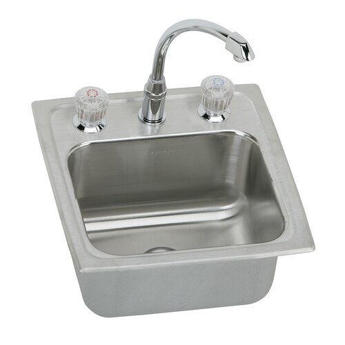 "Elkay Lustertone 15"" x 15"" Gourmet Self Rimming Bar Sink with 2 Handle Faucet"