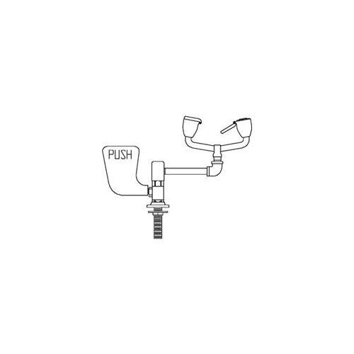 Eyesaver Deck Mounted Eyewash Faucet with Aerated Sprays, Left Hand Paddle Handle and 90 Degree ...