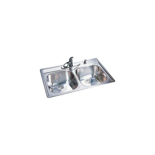 "FrankeUSA 33"" x 22"" 20 Gauge Double Bowl Kitchen Sink"