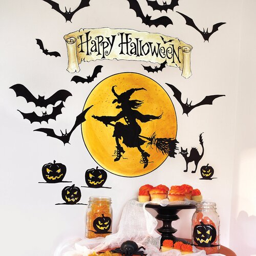 Wallies Happy Halloween Vinyl Holiday Wall Mural