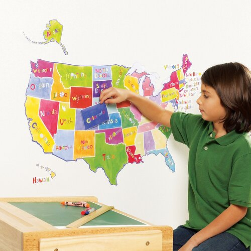 Wallies Us State Map Interactive Vinyl Peel and Stick Wall Mural