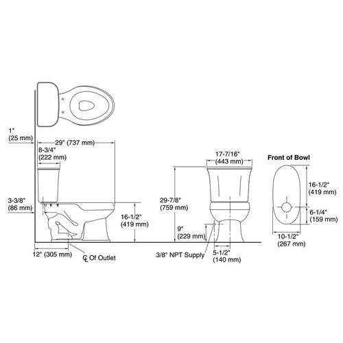 Sterling by Kohler Stinson 1.6 GPF Elongated 2 Piece Toilet