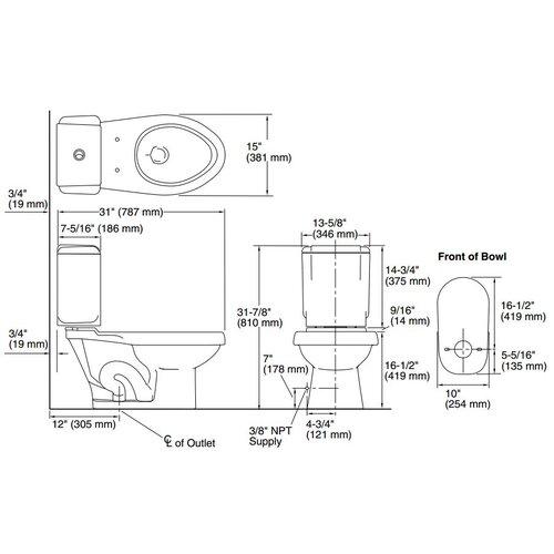 Sterling by Kohler Rockton Elongated 2 Piece Toilet