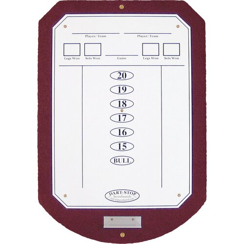 Dart-Stop Burgundy ScoreStation with White Dry-Erase Surface