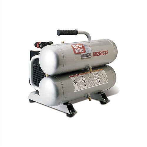 Grip-Rite 4.3 Gallon 2.5 HP Oil Lubricated Direct Drive Electric Portable Twin Stack Single Stage Air Compressor