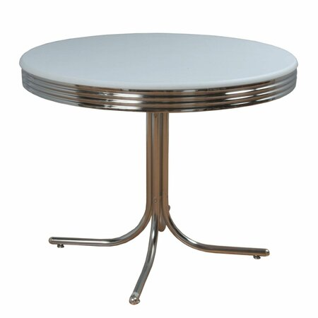 Retro Dining Table in Chrome & White