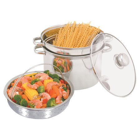 Multipurpose 4 Piece Stockpot Set in Stainless Steel
