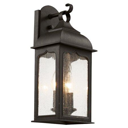 Masonic 2 Light Outdoor Wall Lantern in Rubbed Oil Bronze