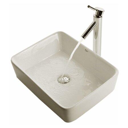 Ceramic Rectangular Bathroom Sink & Faucet Set in Satin Nickel