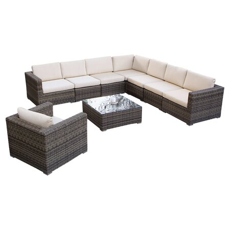 Moroni 9 Piece Seating Group in Brown with Beige Cushions
