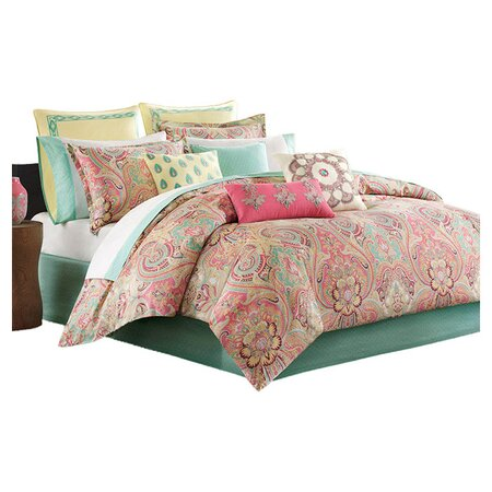 Guinevere Reversible Comforter Set in Coral & Mint