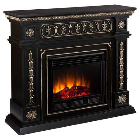 Delavan Electric Fireplace in Black & Gold