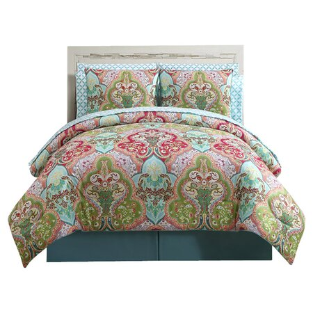 Calais 10 Piece Reversible Comforter Set in Green & Aqua