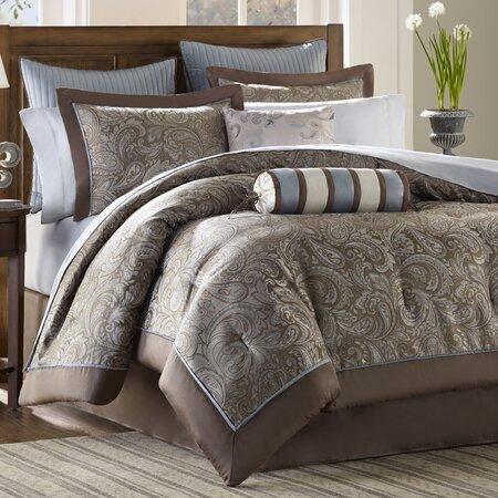 Aubrey 12 Piece Comforter Set in Brown & Blue