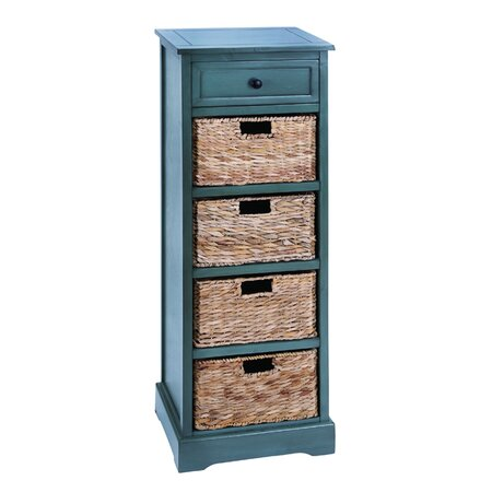Tall Wicker Basket Storage Cabinet in Blue