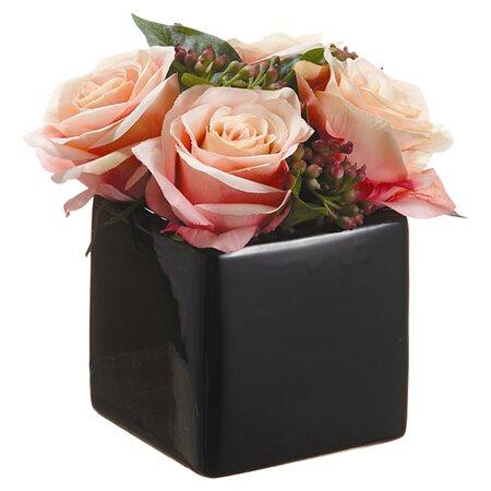 Rose & Viburnum Arrangement in Pink