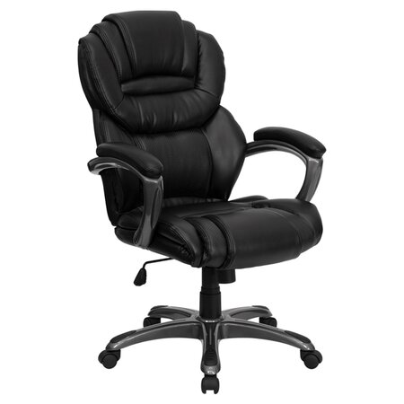 McKinley High-Back Leather Office Chair in Black with Arms