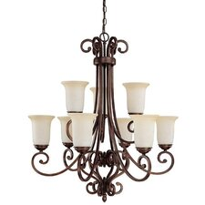 <strong>Capital Lighting</strong> Cumberland 9 Light Chandelier with Mist Scavo Glass