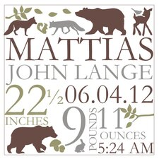 <strong>Alphabet Garden Designs</strong> Forest Critter Birth Announcement Canvas Wall Art