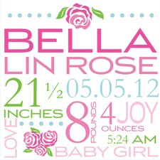 <strong>Alphabet Garden Designs</strong> Bella Rose Birth Announcement Canvas Wall Art