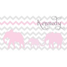 <strong>Alphabet Garden Designs</strong> Personalized Elephant Chevron Safari Canvas Wall Art