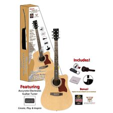 Spectrum Full Size And Spruce Cutaway Acoustic Guitar in Black