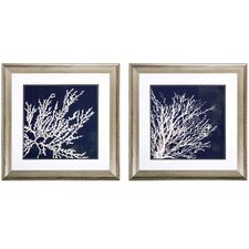 Coastal Coral 2 Piece Framed Graphic Art Set