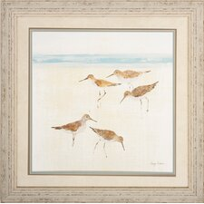 Sand Pipers 2 Piece Framed Painting Print Set