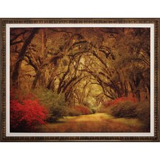 Road with Oaks Painting Print Shadow Box