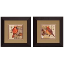 Red Bird I/II 2 Piece Framed Painting Print (Set of 2)