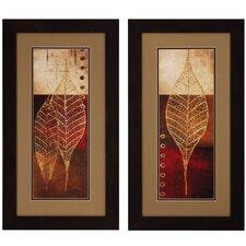 Fossil Leaves Framed Graphic Art (Set of 2)