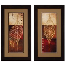 Fossil Leaves I / II 2 Piece Framed Graphic Art Set (Set of 2)