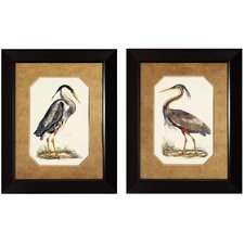 Blue Heron and Purple 2 Piece Framed Painting Print Set (Set of 2)