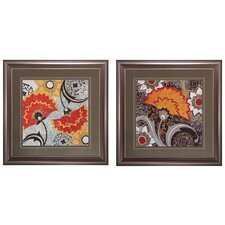 Fan Dance I / II 2 Piece Framed Graphic Art Set (Set of 2)