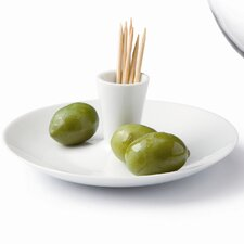 Porcelain and Glass Olive Dish Condiment Server