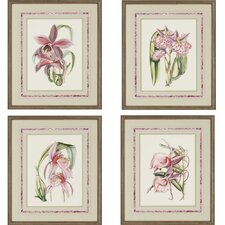 Lilac Orchid 4 Piece Framed Painting Print Set