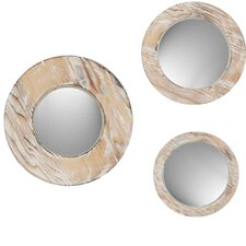 Round Washed Wood Mirror (Set of 3)