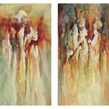 "Contemporary Rain by Unknown Contemporary Art - 40"" x 20"" - 9610 (Set of 2)"