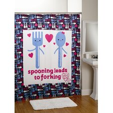 Spooning Cotton Shower Curtain