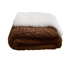 Mink Greek Key Textured Sherpa Throw Blanket